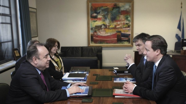 Meeting between Alex Salmon and David Cameron. Photo: EFE