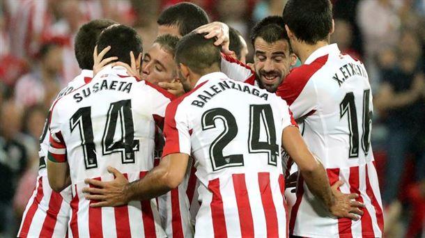 Los jugadores del Athletic celebran el gol de Muniain. Foto: Efe.