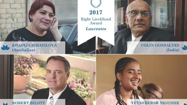 Los cuatro galardonados. Foto:  Right Livelihood