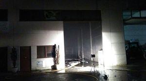 Exterior de la nave industrial donde se produjo el incendio. Foto: Bomberos de Navarra.